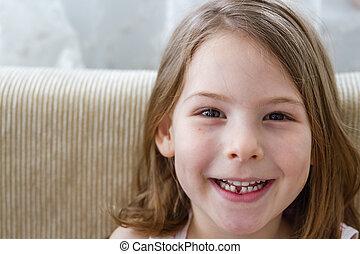 mignon, peu, perdu, dent, girl, lait, premier