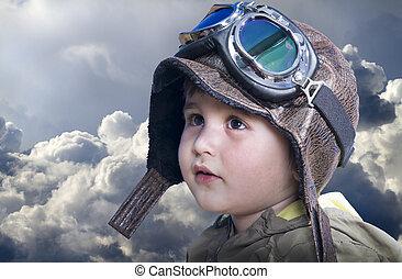 mignon, peu, pilot., devenir, équipement, bébé, chapeau pilote, rêves, lunettes