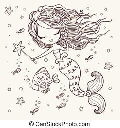 mignon, peu poisson, mer, rigolote, isolé, theme., arrière-plan., etoile mer, objets, vector., blanc, sirène, marin, dessin animé, illustrations.