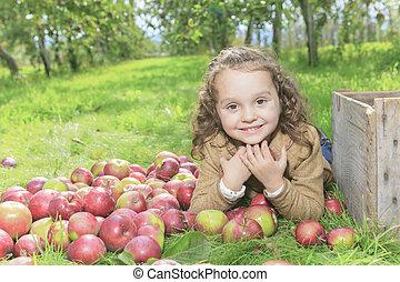 mignon, peu, pomme, girl, preschooler