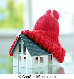 mignon, peu, pompon, maison, haut fin, chapeau, rouges