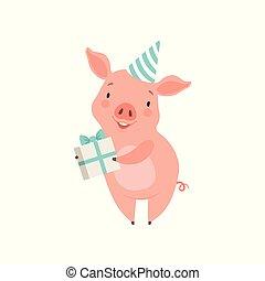 mignon, peu, porcelet, boîte-cadeau, caractère, illustration, cochon, rigolote, vecteur, fond, tenue, fête, chapeau blanc, dessin animé