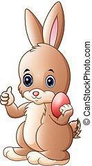mignon, peu, pouce, donner, oeuf, haut, tenue, lapin pâques, rouges