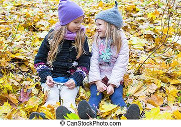 mignon, peu, pré, filles, ensoleillé, automne, diminuez jour