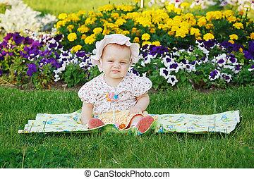 mignon, peu, pré, séance, panama, girl, fleurs