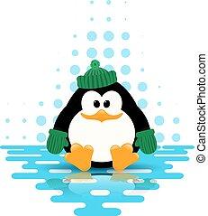 mignon, peu, reflet, illustration, vecteur, vert, glace, chapeau, écharpe, manchots
