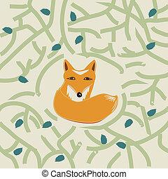 mignon, peu, renard, forêt, illustration