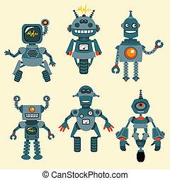 mignon, peu, robots, collection, -, dans, vecteur, -,...