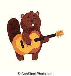 mignon, peu, rodent., plat, grand, guitar., caractère, teeth., jouer, gai, sauvage, queue, vecteur, conception, forêt, animal, oreilles, castor, formé, dessin animé, museau