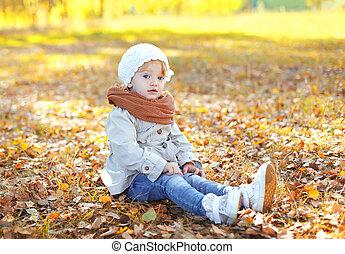 mignon, peu, séance, feuilles, jaune, automne, enfant, girl, jour