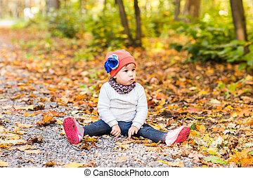 mignon, peu, séance, feuilles, jaune, girl
