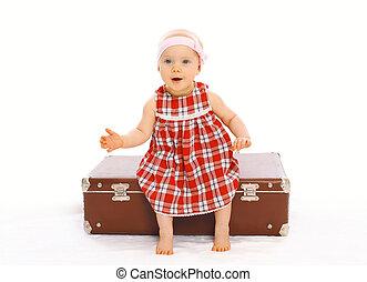 mignon, peu, séance, valise, avoir, enfant, amusement, girl, robe, jouer