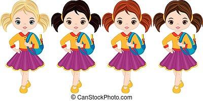 mignon, peu, sacs, filles, école, vecteur