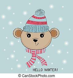 mignon, peu, silhouette, casquette, ours, tricoté, scarf.