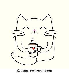 mignon, peu, silhouette, coffee., tasse, chat