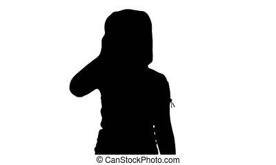 mignon, peu, silhouette, marche., téléphone, quoique, appeler, confection, girl