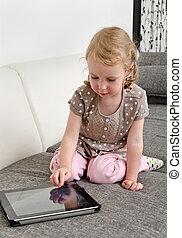 mignon, peu, tablette, informatique, utilisation, girl