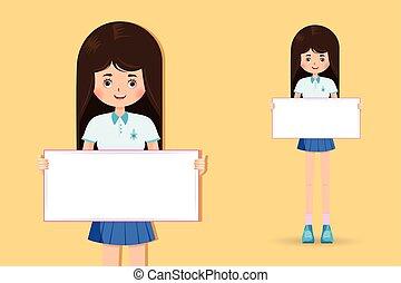 mignon, peu, tenue, étudiant, girl, bannière