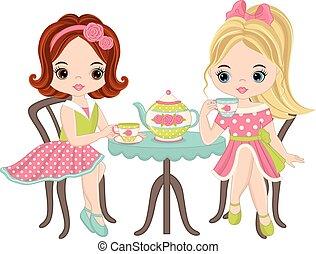 mignon, peu, thé, filles, vecteur, avoir