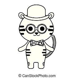 mignon, peu, tigre, caractère