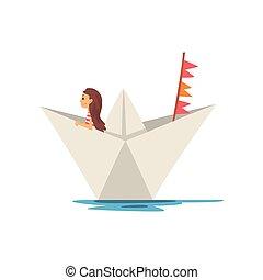mignon, peu, vecteur, illustration, canotage, papier, girl, bateau