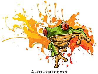 mignon, peu, vecteur, illustration, frog.