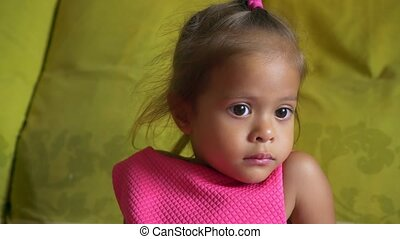 mignon, peu, whims, concept, girl, closeup, asiatique, portrait, enfants, mauvais