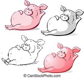 mignon, ping, illustration, cochon, vecteur, dessin animé