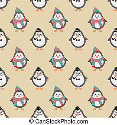 mignon, pingouins, hipster, seamless, fond