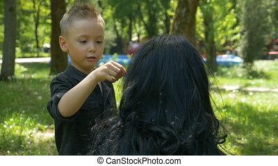 mignon, pissenlit, fils, cheveux, soigneusement, graines, ...