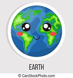 mignon, planète, dessin animé, blanc, arrière-plan., style, vecteur, design., isolé, illustration, n'importe quel, solaire, la terre, system.