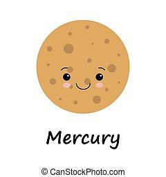 mignon, planète, vecteur, mercury., enfants, illustration
