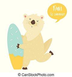 mignon, planche surf, caractère, courant, animal, loutre