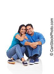 mignon, plancher, couple, séance, jeune, indien