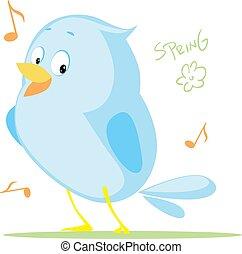 mignon, plat, printemps, -, comming, conception, oiseau chant