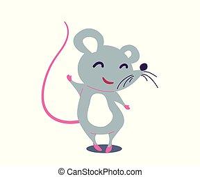 mignon, plat, simple, illustration, dessin animé, rat, vecteur, style.