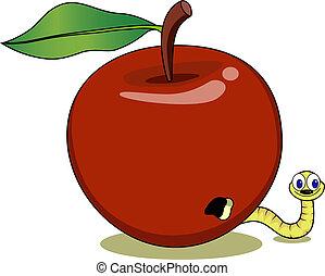 mignon, pomme, rouges, asticot