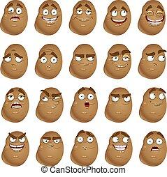 mignon, pommes terre, dessin animé, sourires