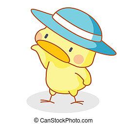 mignon, poser, chapeau, dessin animé, poussins
