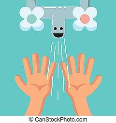 mignon, poster., mains, habituer, lavage, sourire, gosse, ou, carte, gosse
