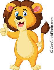 mignon, pouce, abandon, lion, dessin animé