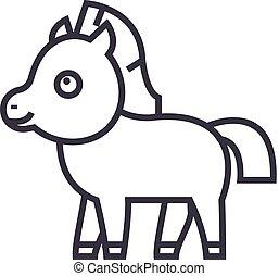 mignon, poulain, cheval, vecteur, ligne, icône, signe, illustration, arriere-plan, editable, coups