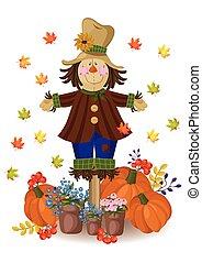 mignon, poupée, drawing., vendange, feuilles, automne, vecteur, épouvantail, decor., carte, citrouille