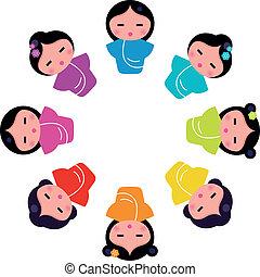 mignon, poupées, circ, japonaise, kokeshi