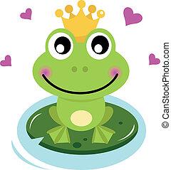 mignon, prince, grenouille, cœurs