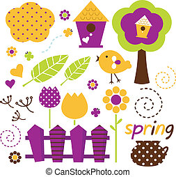 mignon, printemps, jardin, vecteur, ensemble, isolé, blanc, (, retro, )