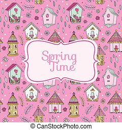 mignon, printemps, -, maisons, vecteur, temps, oiseau, carte