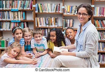 mignon, prof, élèves, lecture
