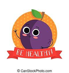 mignon, prune, caractère, fruit, vecteur, bagde