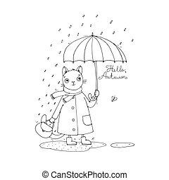 mignon, puddles., parapluie, chat, pluie, dessin animé